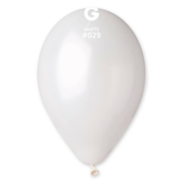 Fehér lufi, metál 28 cm