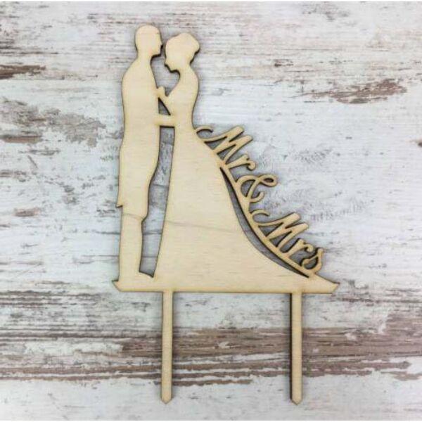 Mr és mrs esküvői pár natúr fa sziluett tortadísz