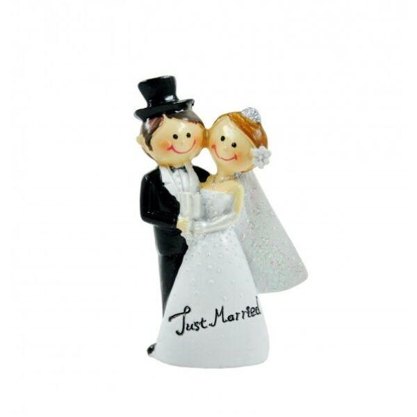 Pezsgős poharas esküvői pár just married tortadísz