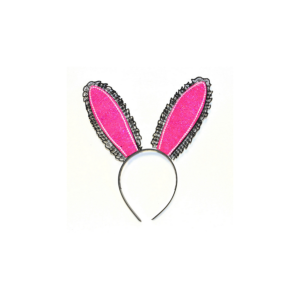 Pink-fekete nyuszi fül hajpánt