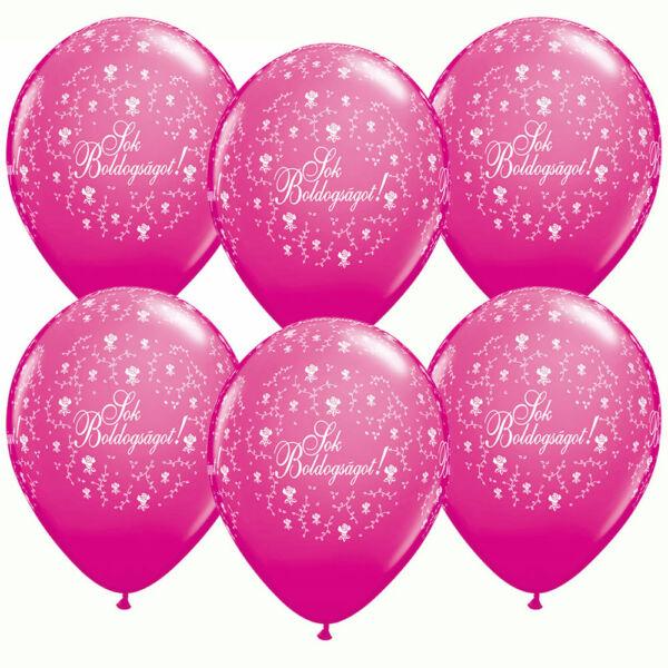 Pink sok boldogságot esküvői lufi