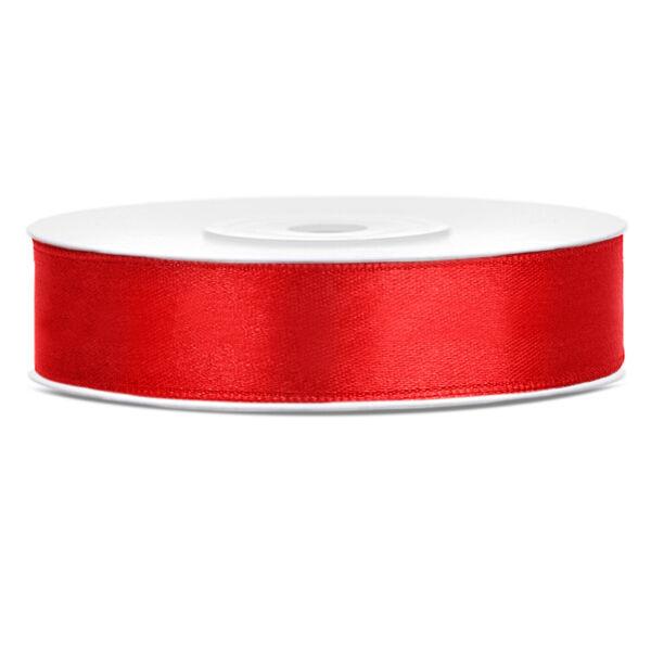 Piros szatén szalag 12mm x 25m