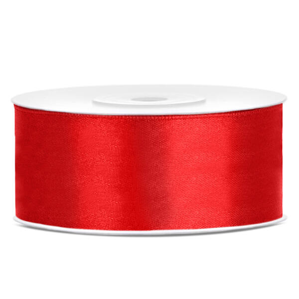 Piros szatén szalag 25mm x 25m