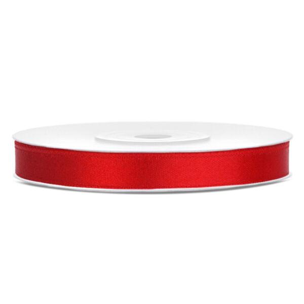Piros szatén szalag 6mm x 25m