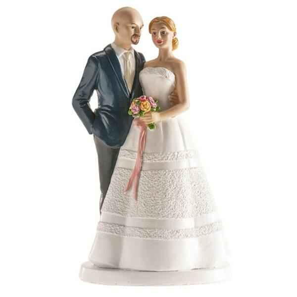 Romantikus esküvői tortadísz szalagos csokorral