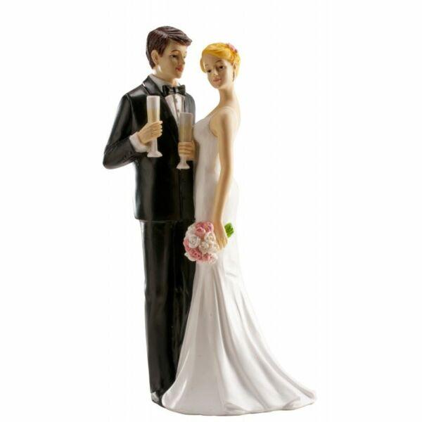 Romantikus koccintós esküvői tortadísz