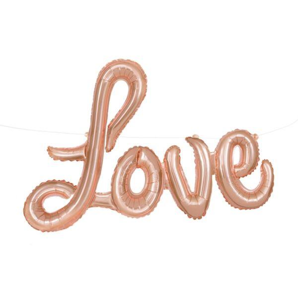 Rose gold love függeszthető levegős lufi