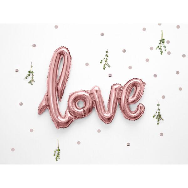 Rose gold love levegős fólia lufi felirat