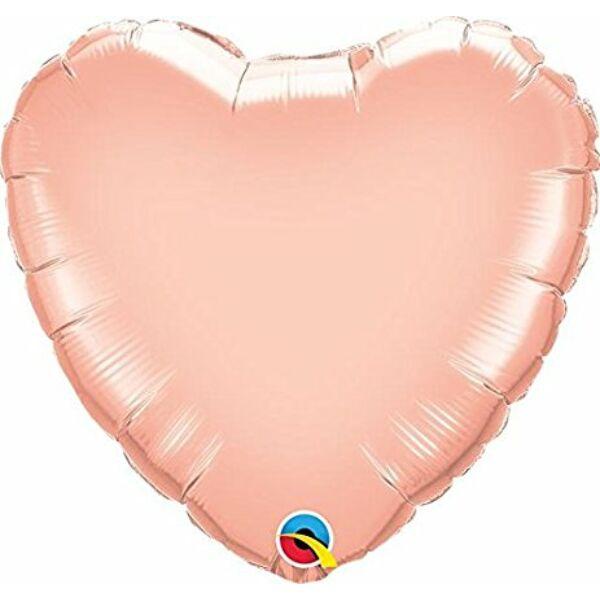 Rose gold szív fólia héliumos lufi