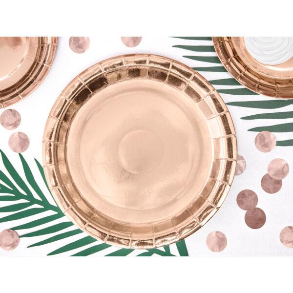 Rose gold papír tányér 23 cm 6 db
