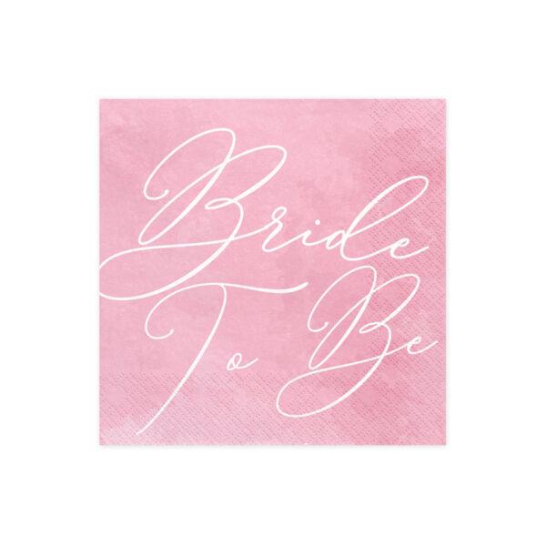 Rózsaszín bride to be szalvéta 20 db