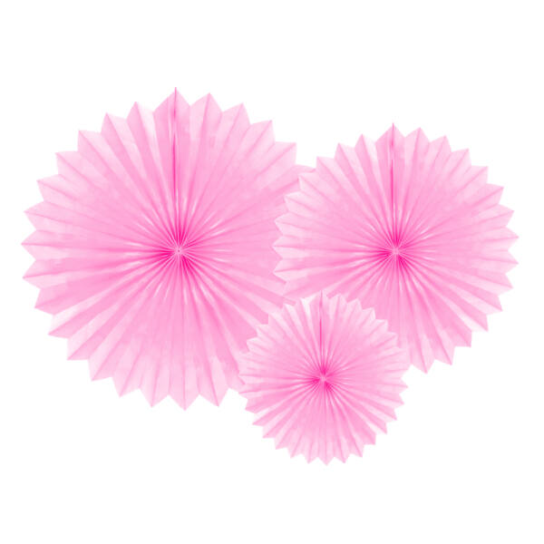 Rózsaszín selyempapír legyező szett 3 db