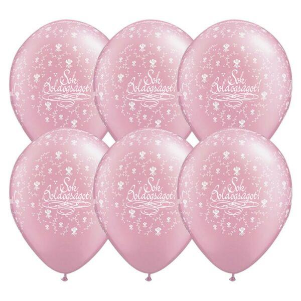 Rózsaszín Sok Boldogságot lufi