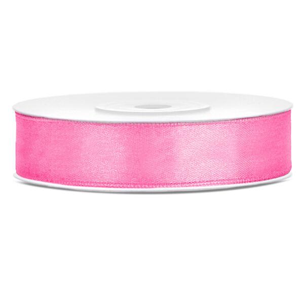 Rózsaszín szatén szalag 12mm x 25m