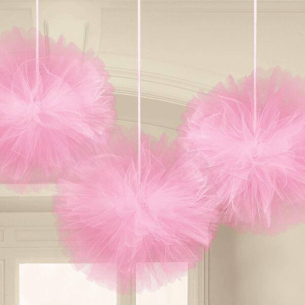 Rózsaszín tüll pompom függő dekoráció 3 db