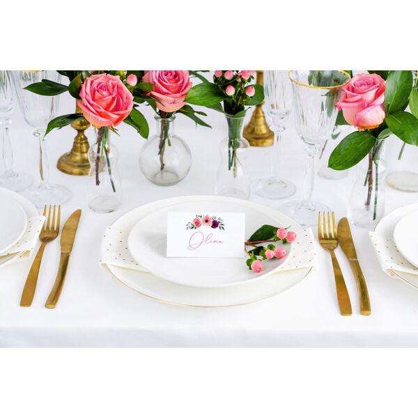 Rózsaszín virágos ültetőkártya