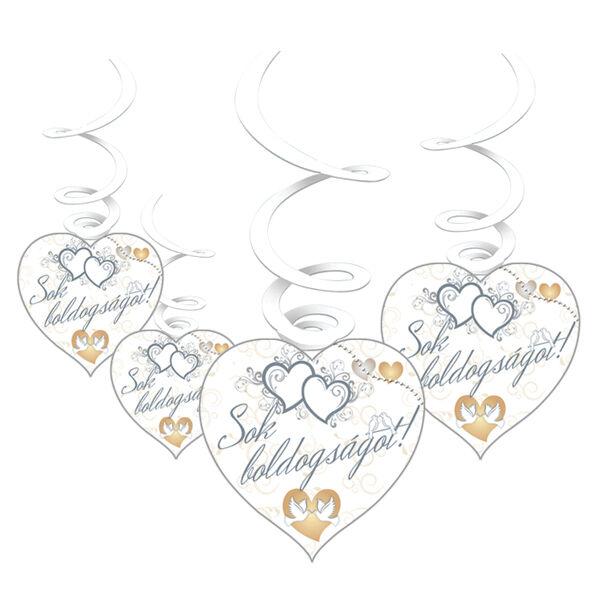 Sok boldogságot galambos esküvői függő dísz