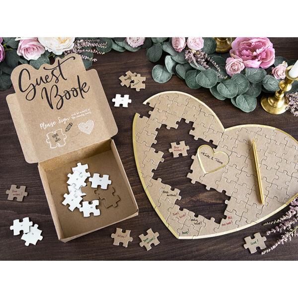 Szív puzzle esküvői vendégkönyv