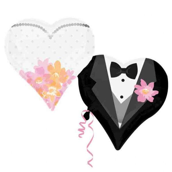 Szíves menyasszony vőlegény esküvői héliumos lufi