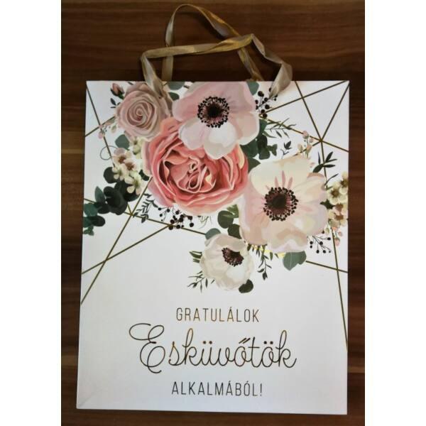 Virágos esküvői ajándéktasak nagy