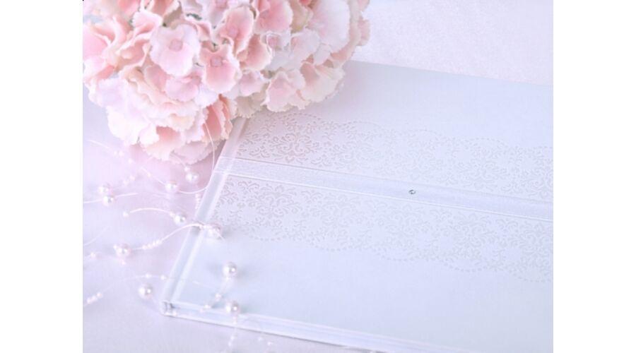 53fc1ddad1 Fehér gyöngyházas vintage esküvői vendégkönyv