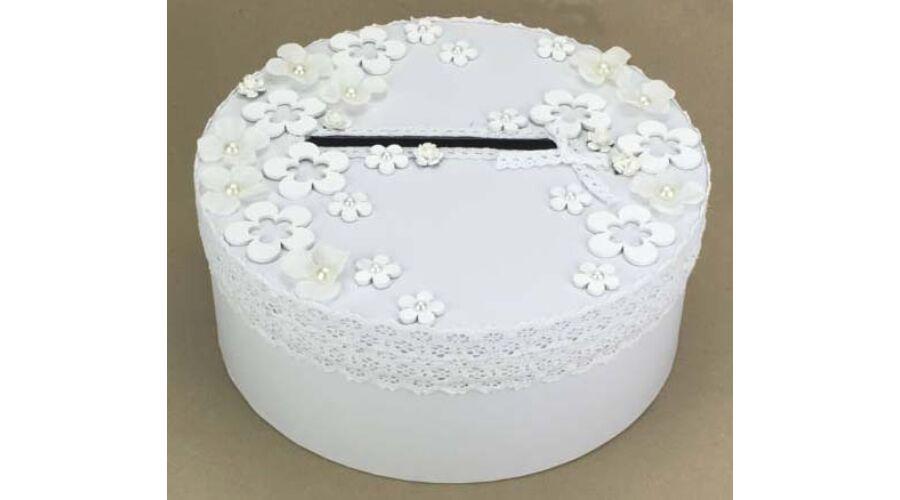 b83d165c4f Fehér virágos esküvői nászajándék doboz
